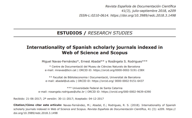 Internationality of Spanish scholarly journals | Ernest Abadal